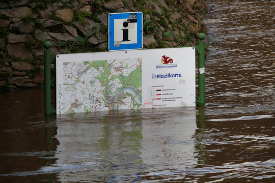 A map of the Moselle resort of Kobern-Gondorf is flooded by the river Moselle due to heavy rainfalls in western Europe, in Kobern-Gondorf near Koblenz