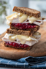 Fresh Homemade Turkey Sandwich with brie cheese and cranberry sauce