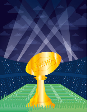 superbowl sport poster with balloon trophy in stadium