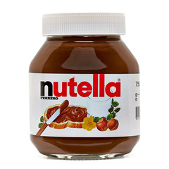 Los Angeles, California - May 17, 2019: Nutella jar on Isolated Background. Nutella Company is the most popular market leader in USA