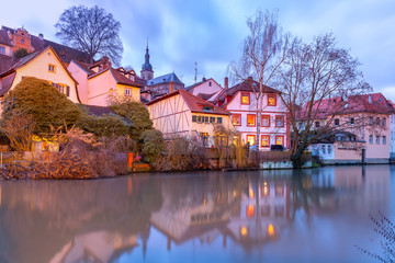 Wall Mural - Scenic view of Old town over the Regnitz river at night in Bamberg, Bavaria, Upper Franconia, Germany