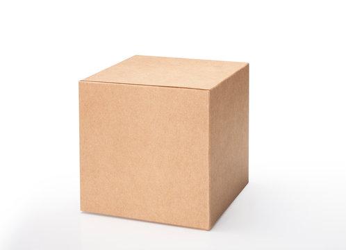 Brown cube on white background. Studio shot