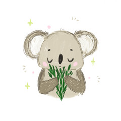 Cute koala with green leaves. Sweet animal character for print and other design