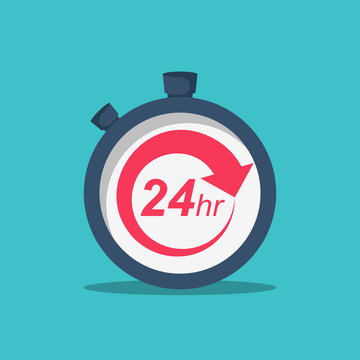 24 Hours. 24 7 service icon. The circular arrow in the stopwatch. Vector illustration flat design. Isolated on background. The concept of continuous service.