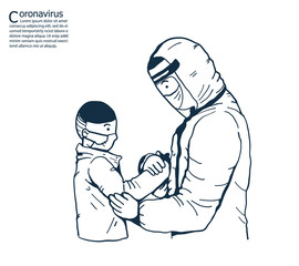 The doctor is holding hands to encourage With sick children.A girl wearing masks to help prevent the spread of a deadly coronavirus.illustration vector for coronavirus and  pollution.