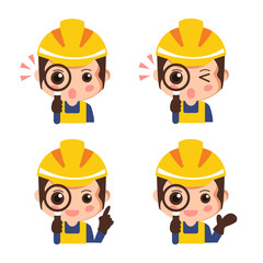 Set construction worker looking through a magnifying glass. Industrial safety cartoon. vector illustration