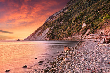Portonovo, Ancona, Marche, Italy: landscape at dawn of the beach on the Adriatic sea coast