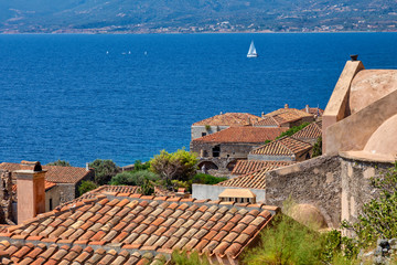 View of the old town of Monemvasia in Lakonia of Peloponnese, Greece.