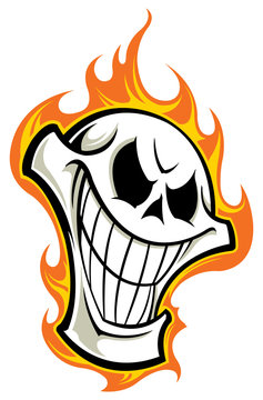 Skull with flames tattoo