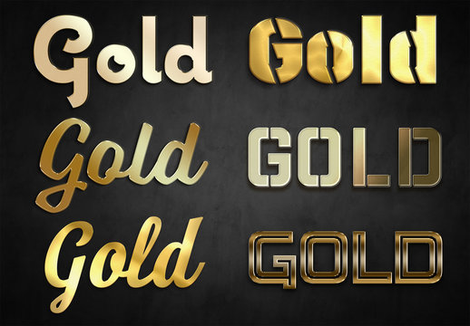 Gold Text Effect Mockup Collection