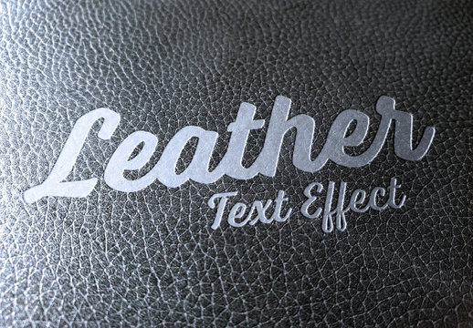 Metal Text Effect on Leather Mockup