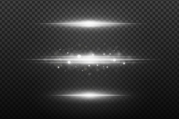 Wall Mural - Set of white flashes. Light effects on a transparent background. Glares bokeh with flying dust. Glowing elements. Vector illustration