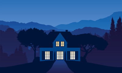 vector illustration of a house somewhere in the mountain landscape in the night with light falling through the windows