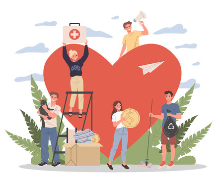 Volunteers vector illustration. Young people packing donation box with money, collecting garbage, taking care about animals near heart. Support community for social aid, charity, help concept