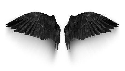 Black pairs of angle wings or parrot wings isolate with clipping path on white background Fototapete