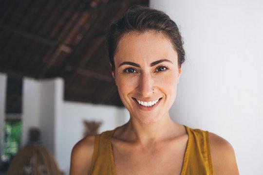 Portrait of pretty brunette woman