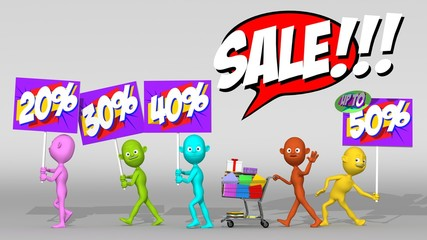 Colorful 3d characters parade announcing discounts sale