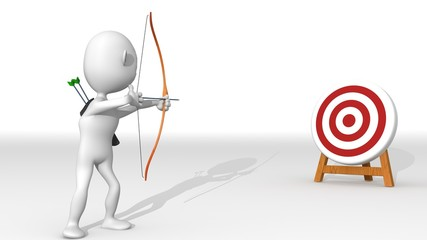 A white 3d character with bow and arrow points at  a target