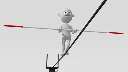 A white 3d character walks on a tight rope trying to maintain balance