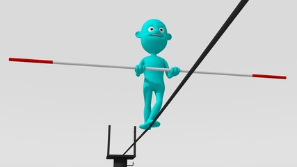 A cyan 3d character walks on a tight rope trying to maintain balance