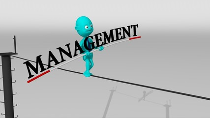 A cyan 3d character walks on a tight rope trying to keep the balance with a management text in his hands