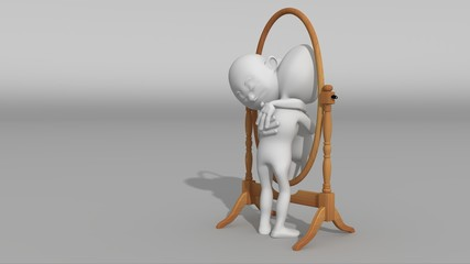 A white 3d character hugs his reflection in a mirror