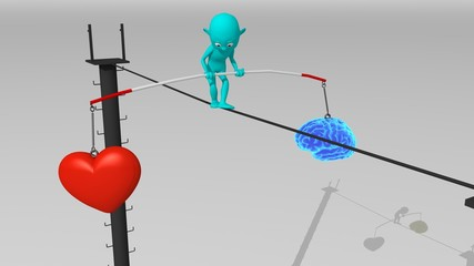 A cyan 3d character walks on a tight rope trying to maintain balance between brain and heart, feelings, intelligence