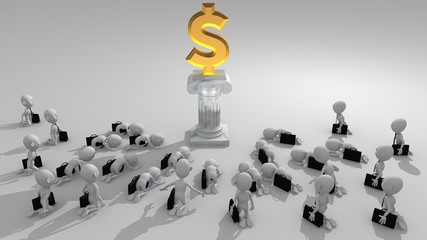 A multitude of white 3d characters approach to worship a money symbol seated on a pedestal