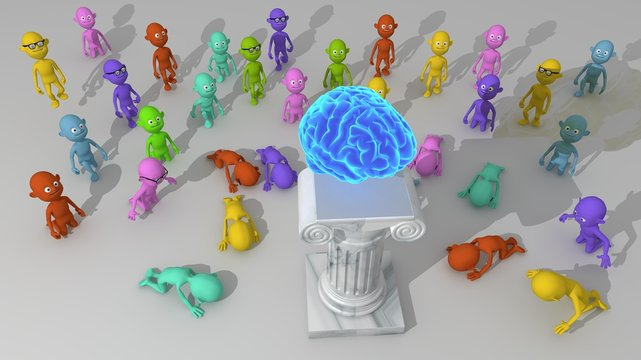 A multitude of colorful 3d characters approach to worship a brain seated on a pedestal