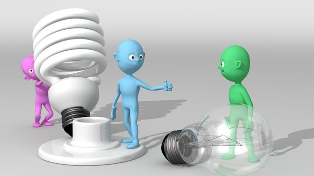 A group of 3d colored characters exchanges a conventional bulb for an energy-saving bulb