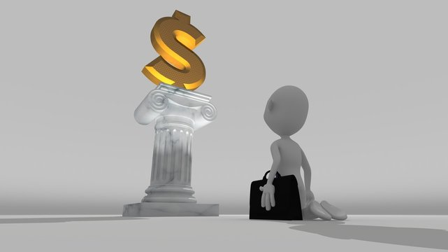 A white 3d character kneeling worshiping a money sign resting on a pedestal