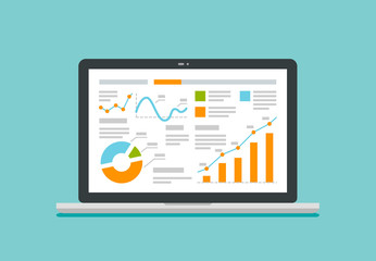 Laptop screen with data analysis graphs and charts. Business vector illustration