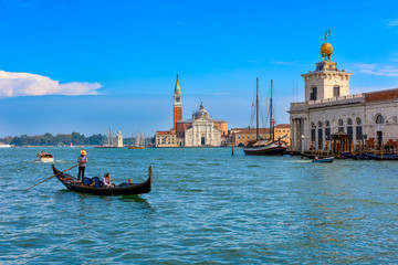 Wall Murals Gondolas San Giorgio Maggiore island, Grand canal and gondola in Venice, Italy. Architecture and landmarks of Venice. Venice postcard