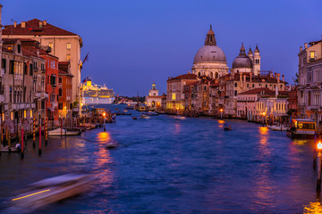 Wall Mural - Grand Canal with Basilica di Santa Maria della Salute in Venice, Italy. Night view of Venice Grand Canal. Architecture and landmarks of Venice. Venice postcard