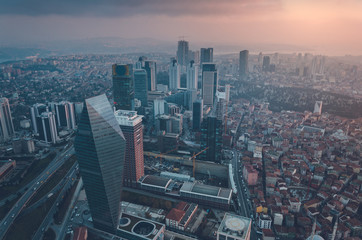 Aerial view of Istanbul from Sapphire Building Observation Deck, Istanbul's largest skyscraper - Stock Image