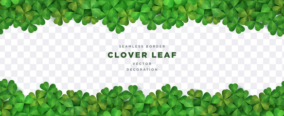 Clover shamrock leaf seamless border on transparent background vector decorative elements template Wall mural