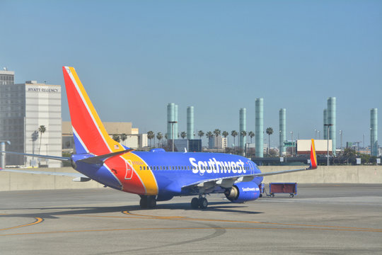 LOS ANGELES, CA, USA - MARCH 30, 2018 : Southwest Airlines Boeing 737-7BK plane at Los Angeles LAX airport.