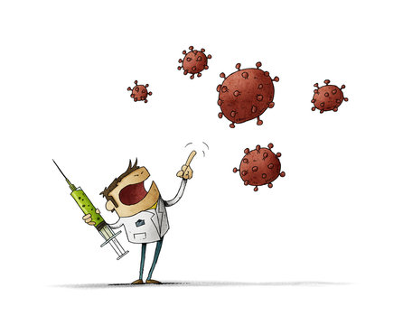 angry scientist with a vaccine in his hand is threatening the nCoV virus. Isolated