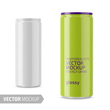 White glossy energy drink can vector mockup.