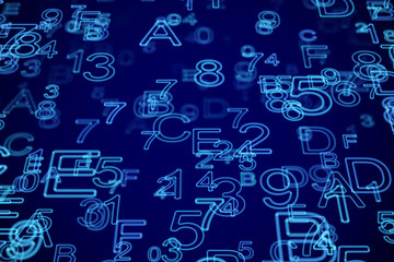 Hexadecimal code stream on computer screen. Abstract visualization of software development or data transfer. Blue letters and digits. Information technology or big data background. Vector illustration