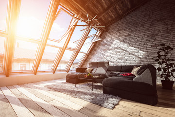 Attic living room interior with warm light