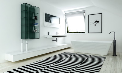 Interior of bathroom with contrast carpet