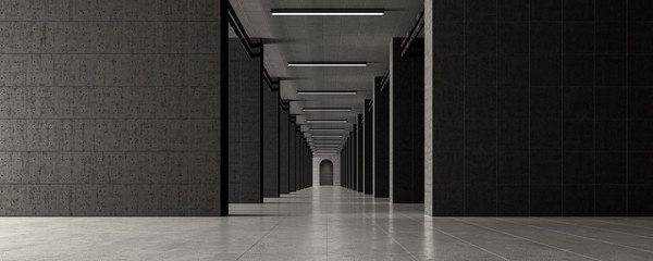 Modern concrete hall with door at end 3d render 3d illustration