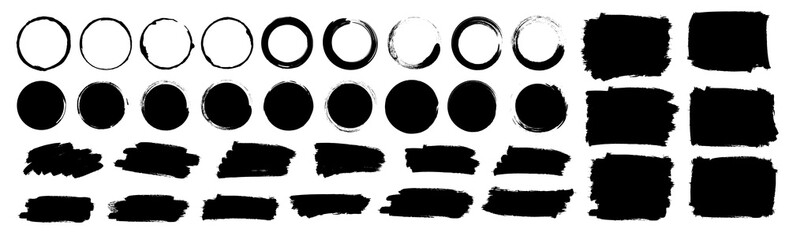 Paint brushes strokes mega set. Vector illustration