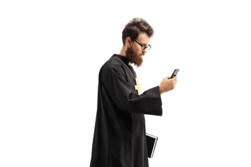 Priest with a mobile phone