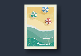 Vintage Style Postcard Layout with Beach Scene Illustrations