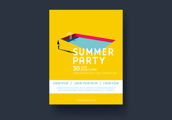 Bright Yellow Summer Party Poster Event Poster with Swimming Pool Illustration