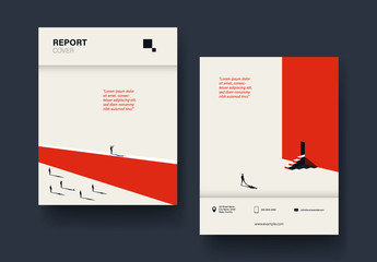 Report Cover Layout with Red and Black Illustrations