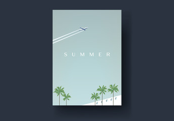 Vintage Style Postcard Layout with Plane and Palm Tree Illustrations