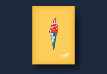 Yellow Vintage Style Postcard Layout with Soft-Serve Ice Cream Cone Illustration